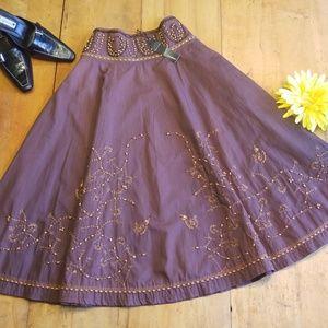 Lulumari Boho Festival A-Line Hand Beaded Skirt M